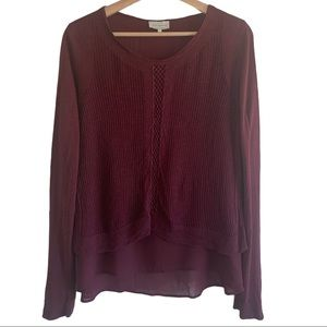 Lucky Brand layered Knitted Boho Sweater